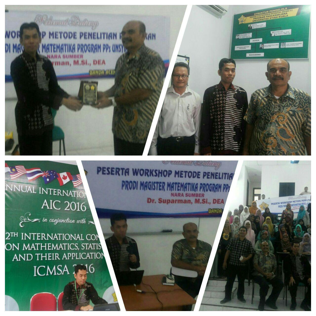 Dr. Suparman Kaprodi Magister Pendidikan Matematika saat menjadi pemateri di UNSYIAH, Banda Aceh pada 5 Oktober 2016