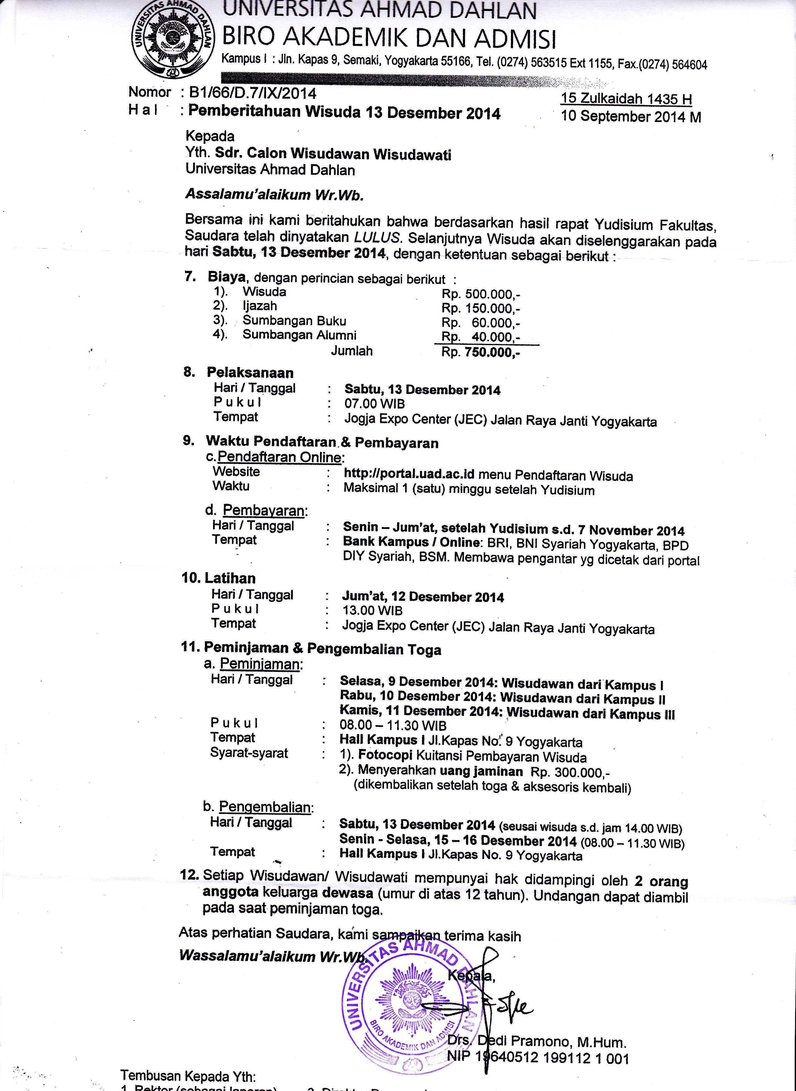 Surat Pemberitahuan Wisuda 13 Desember 2014