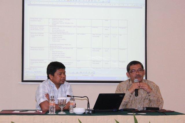 Dr. Muchlas, M.T.  Wakil Rektor I UAD (baju batik) didampingi Sunardi, S.T., M.T., Ph.D. Kaprodi S2 Teknologi Informasi (TI) saat menyampaikan pengarahan pada Tim Kurikulum dan Tim Borang Akreditasi S2 TI UAD.